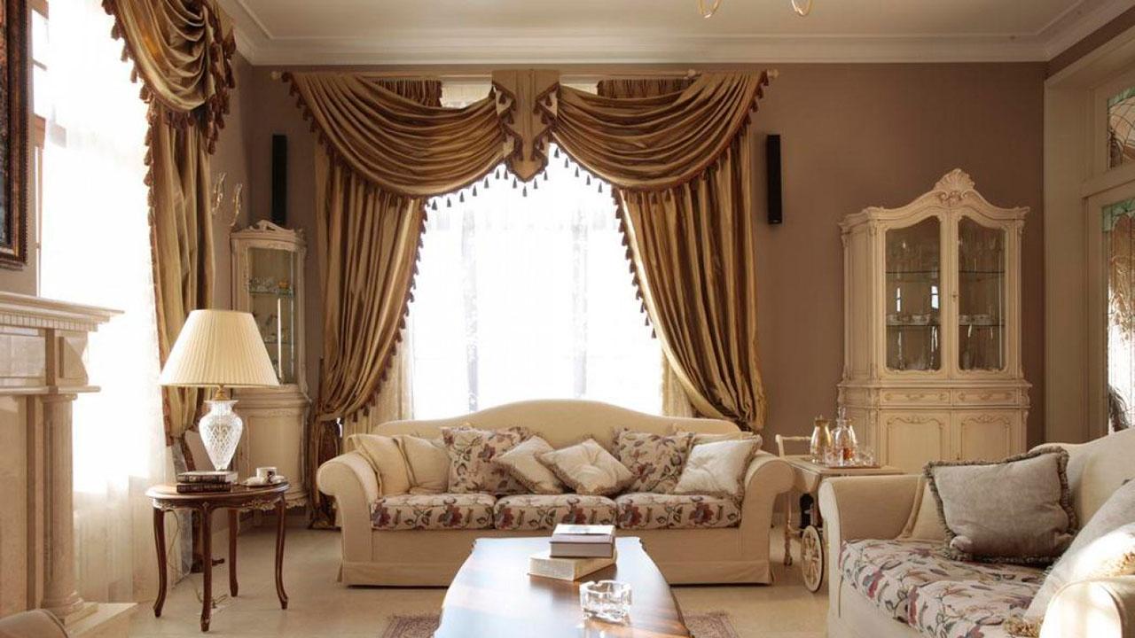 Классические шторы в гостиной