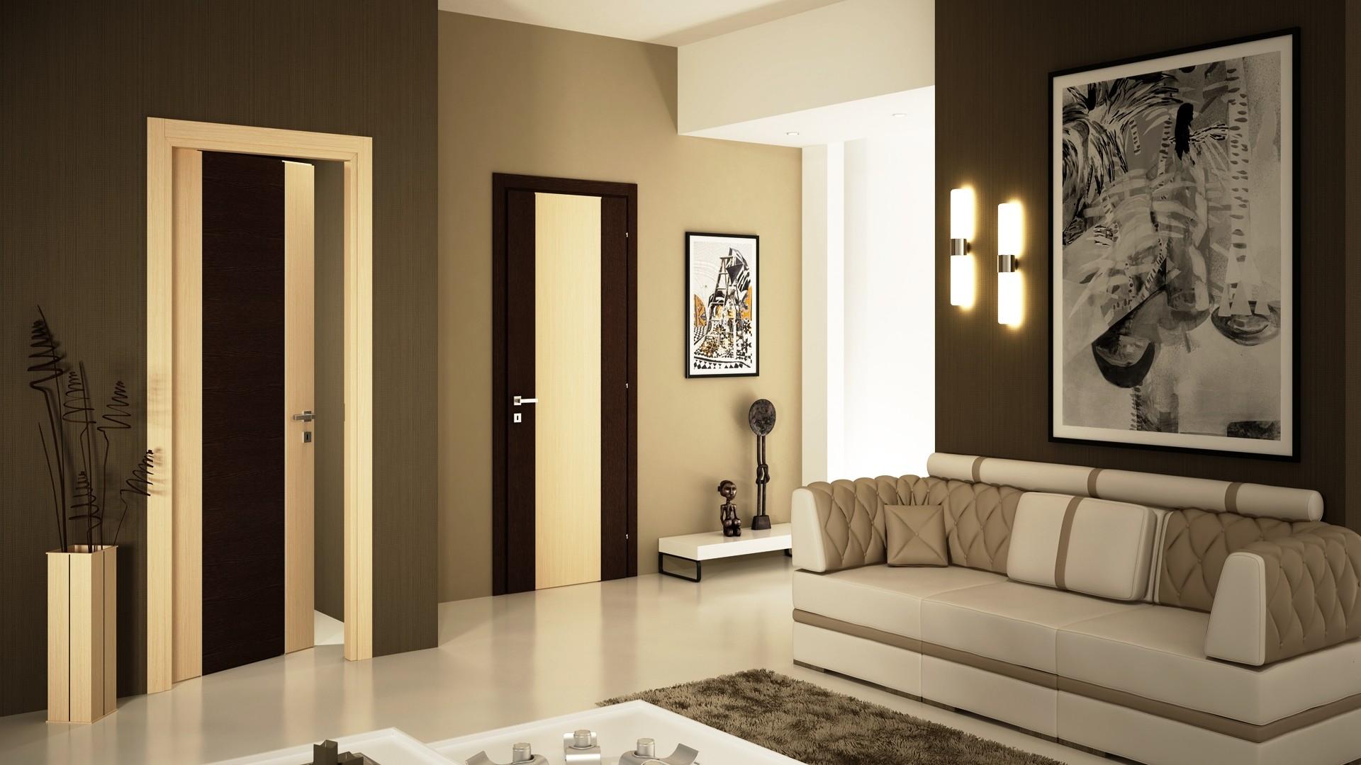 Дверь из экошпона в интерьере гостиной