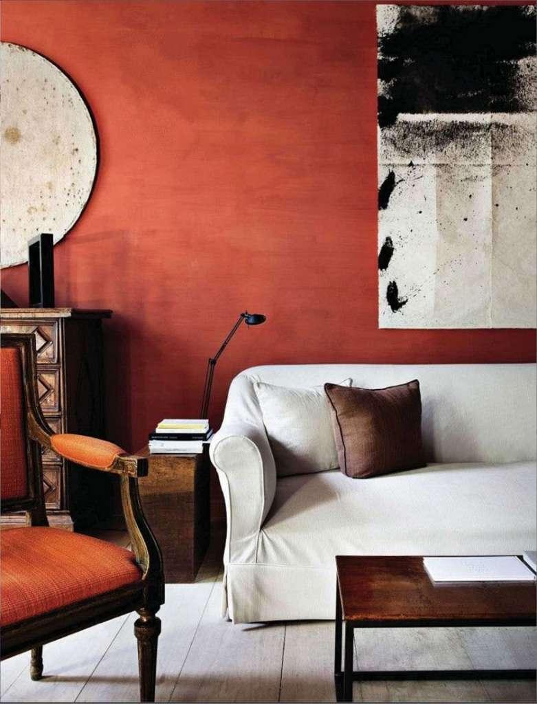 Терракотовый цвет в гостиной
