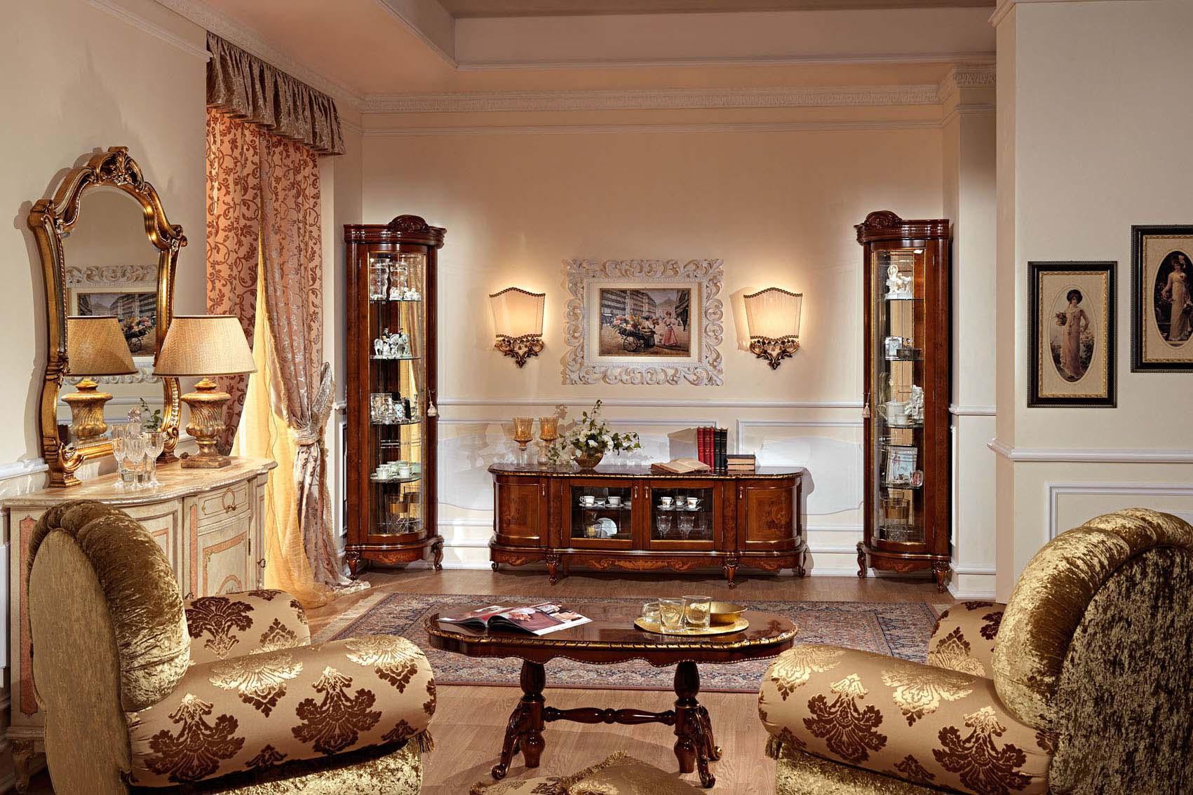 Шкаф-витрина в интерьере гостиной