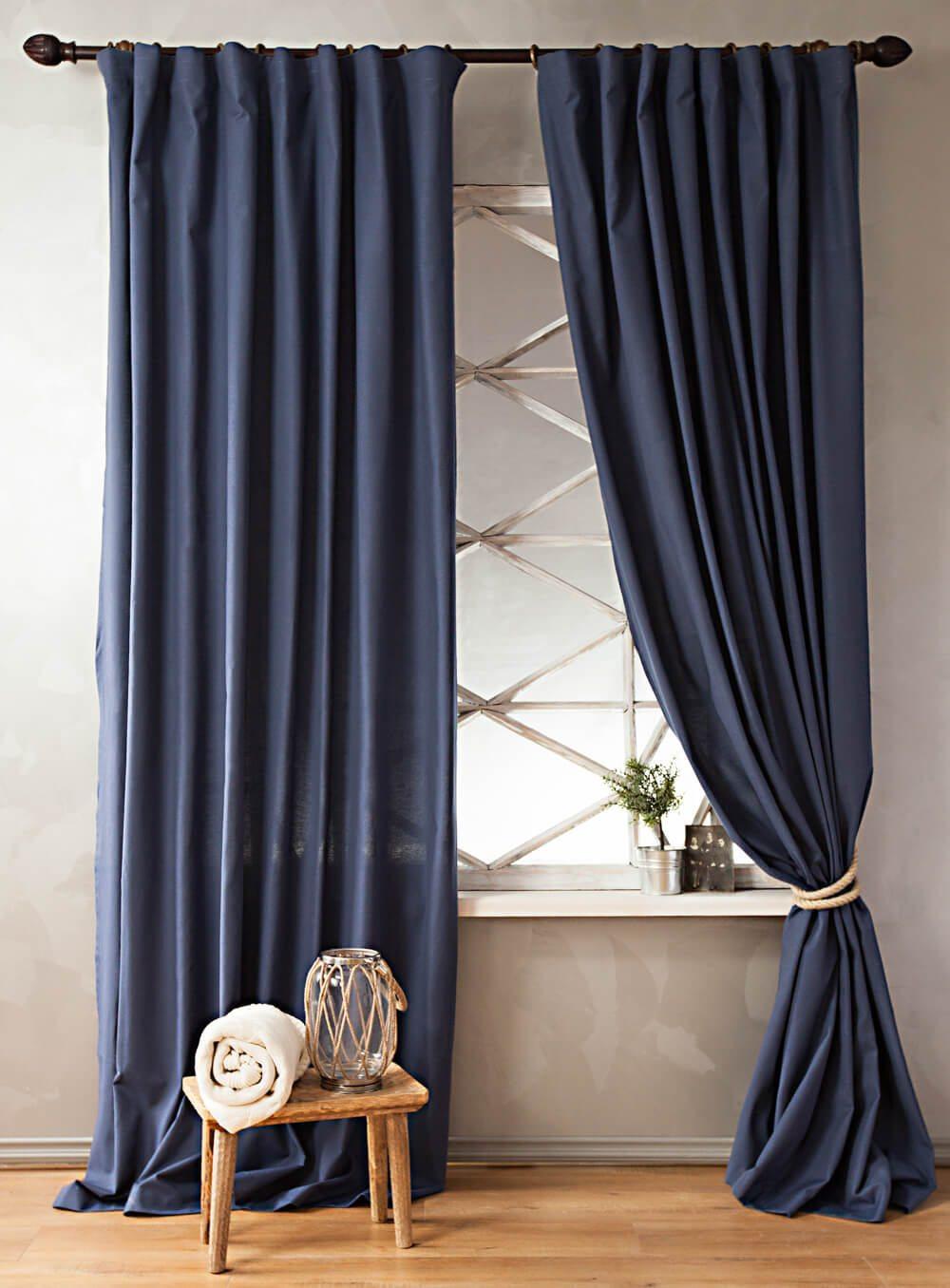 Синие шторы из хлопка