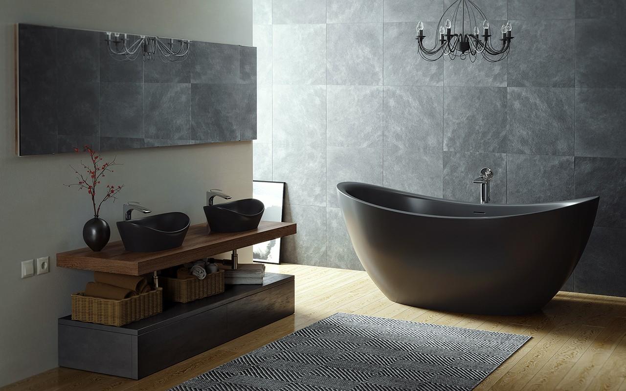 Овальная ванна из искусственного камня