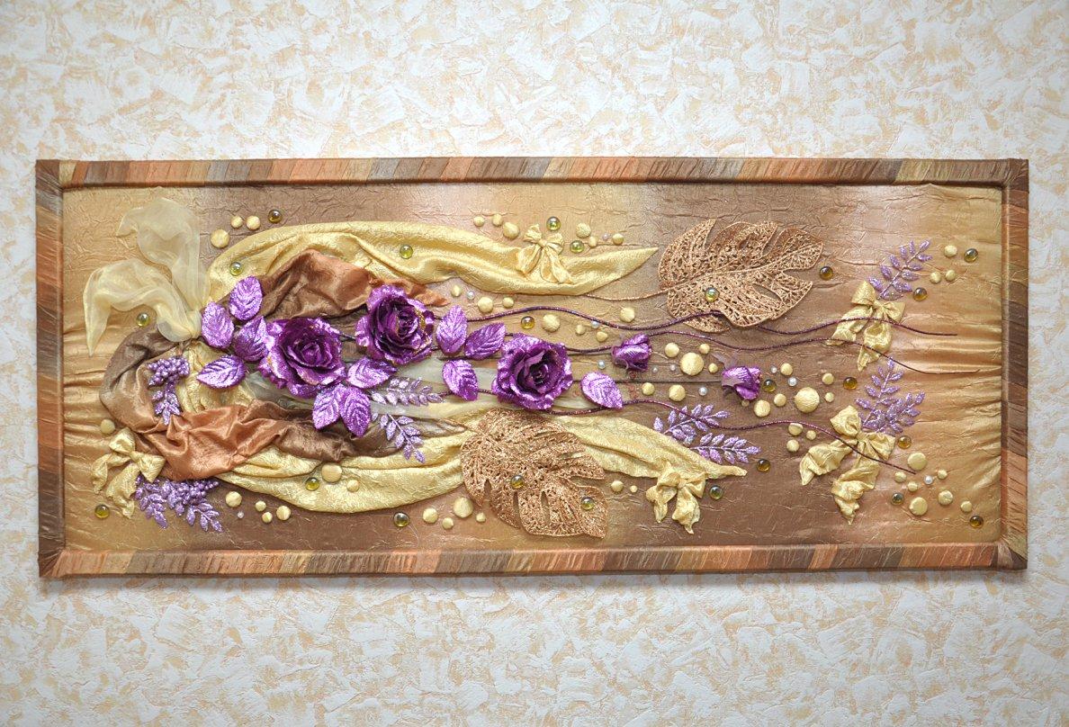 Картина из ткани с декоративными камнями