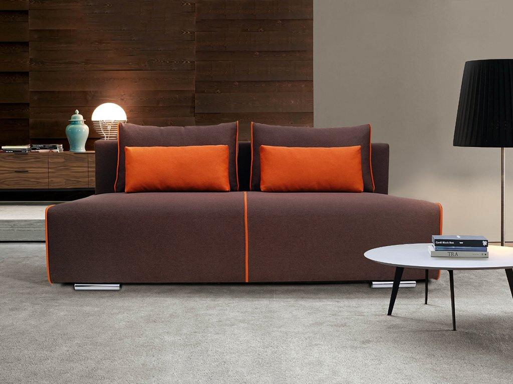 Коричневый диван без подлокотников