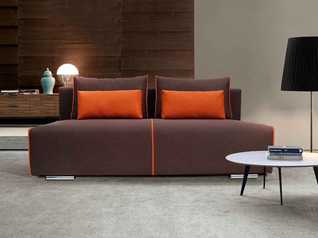 Коричневый бескаркасный диван