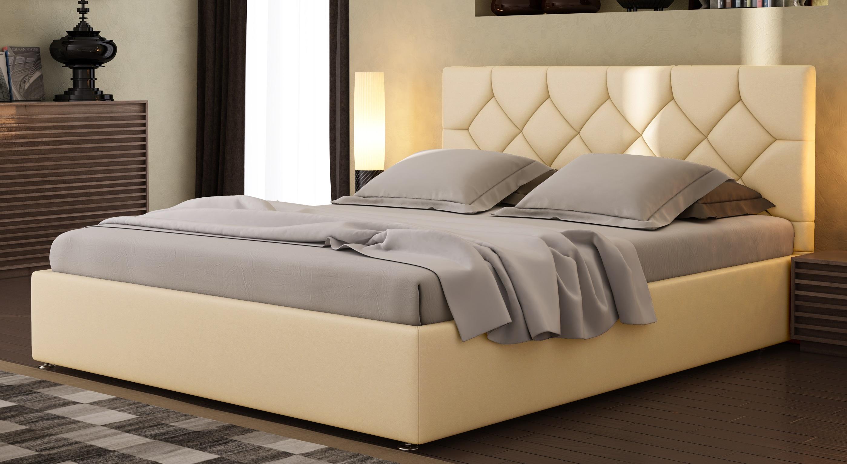 Реечная кровать из кожи