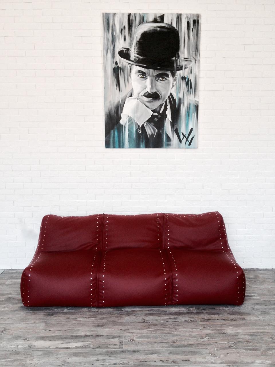 Кожаный бескаркасный диван