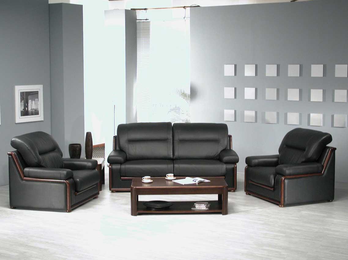 Черный диван с креслами