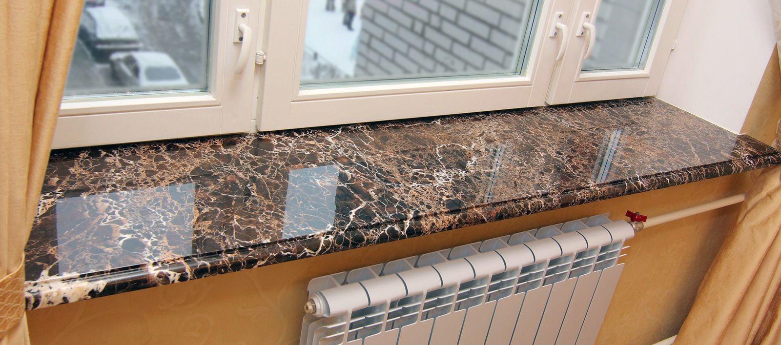 Подоконник из мрамора – роскошная деталь современного интерьера (23 фото)