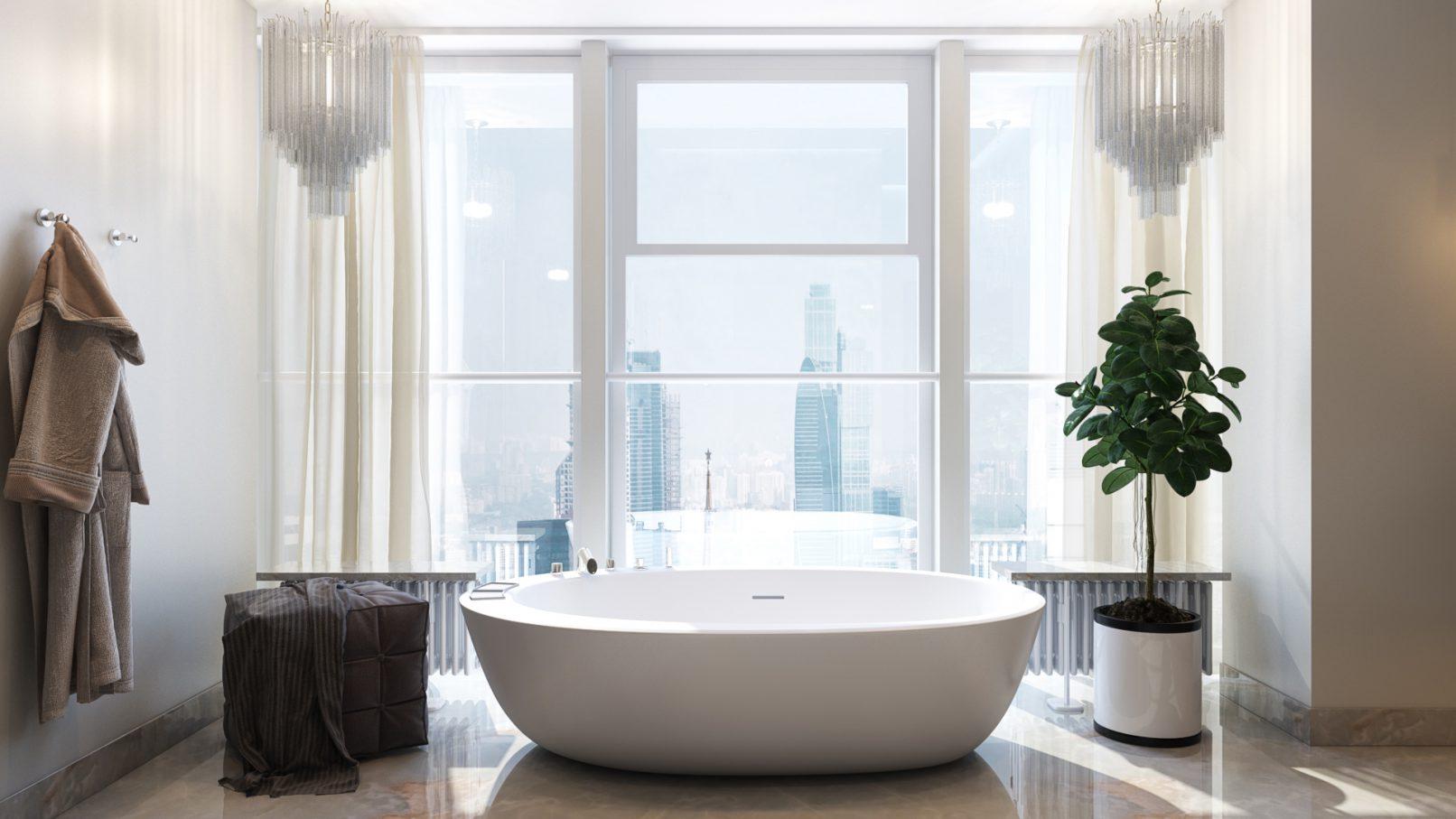 Овальная ванна в интерьере квартиры