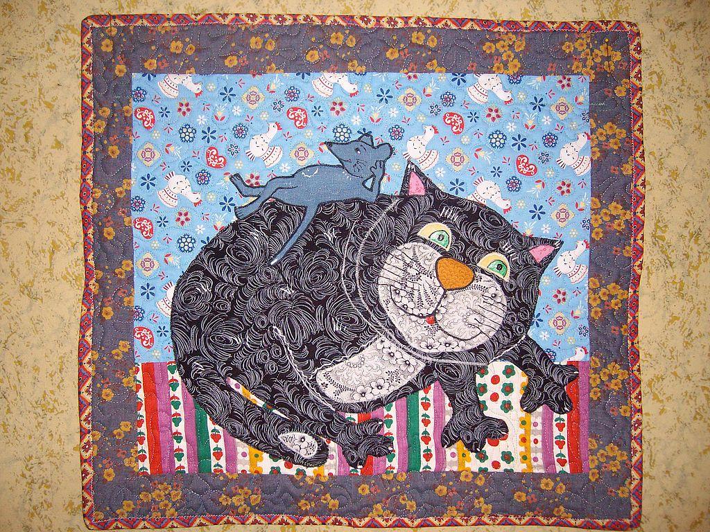 Картина из лоскутов ткани
