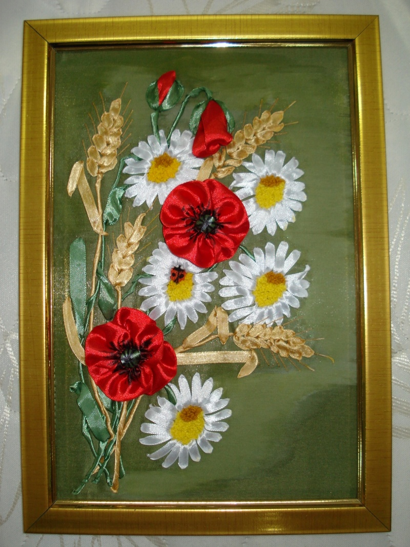Картина из ткани в виде маков