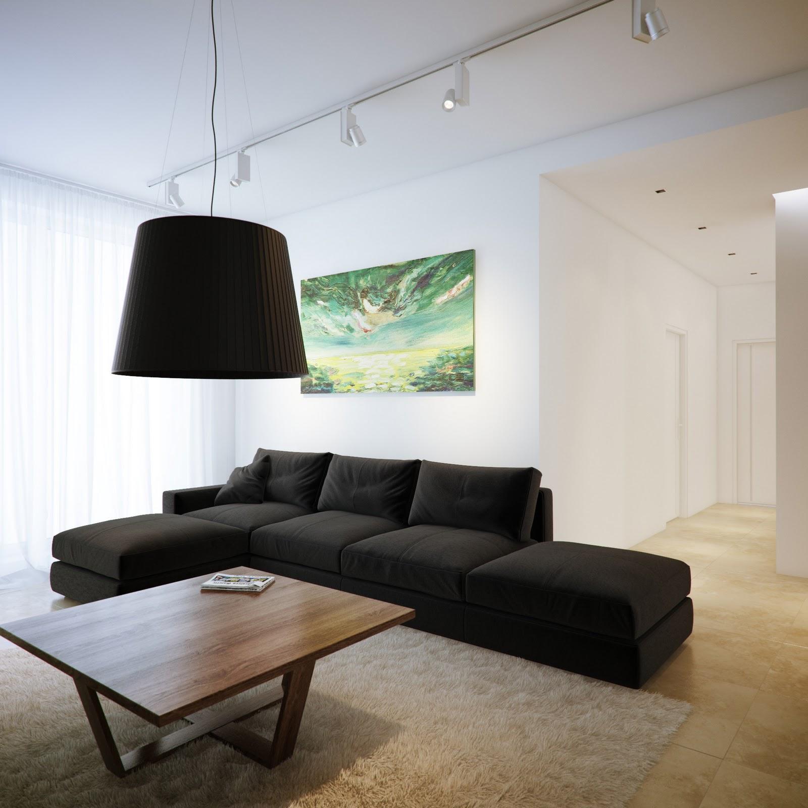 Черный диван в минималистичном стиле