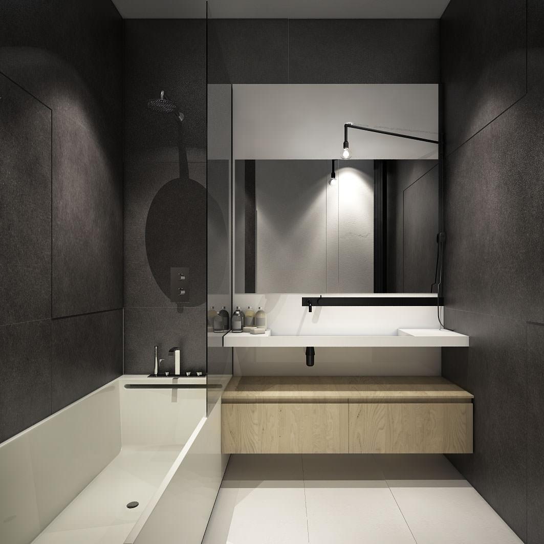 Прямоугольная ванна в минималистичном стиле