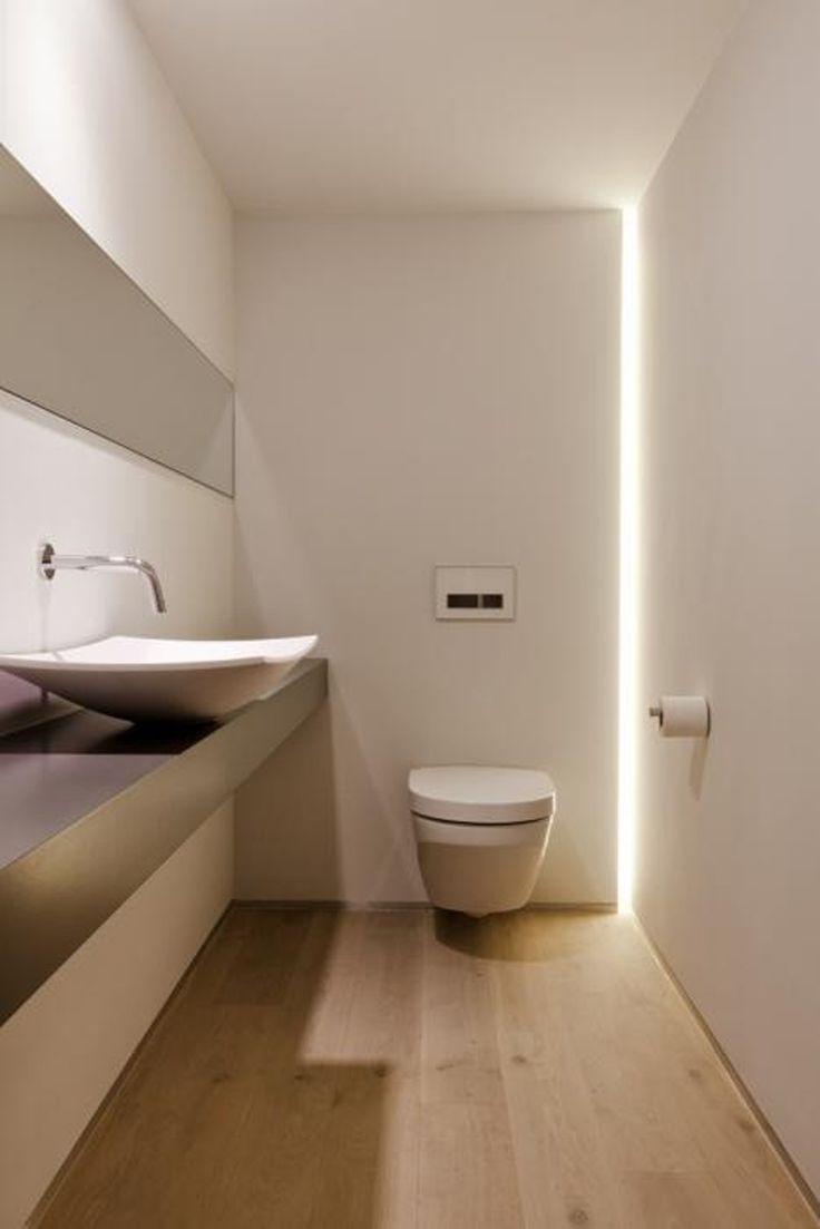 Ванная в минималистичном стиле с подсветкой