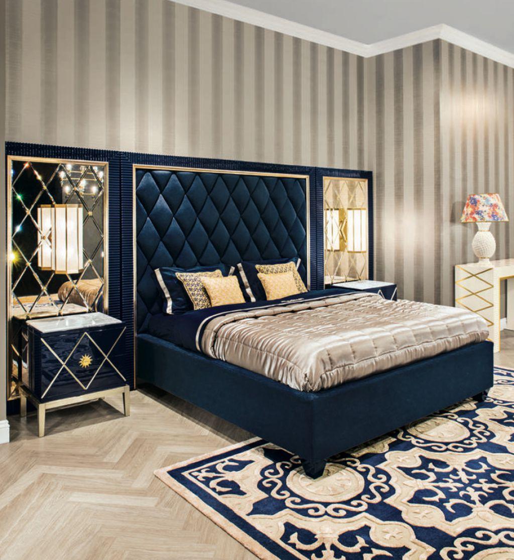 Синяя кровать в стиле модерн