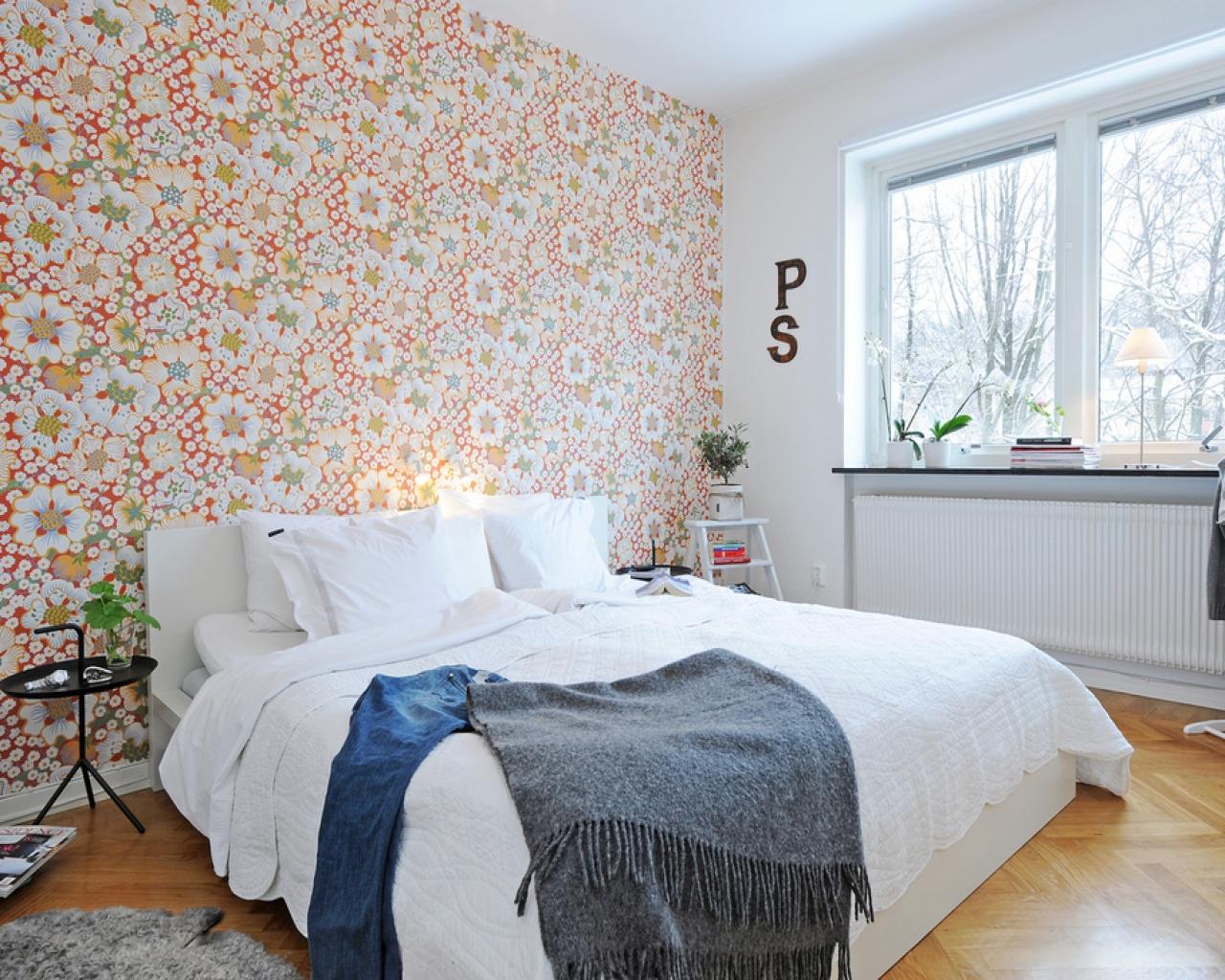 Обои в спальне в скандинавском стиле