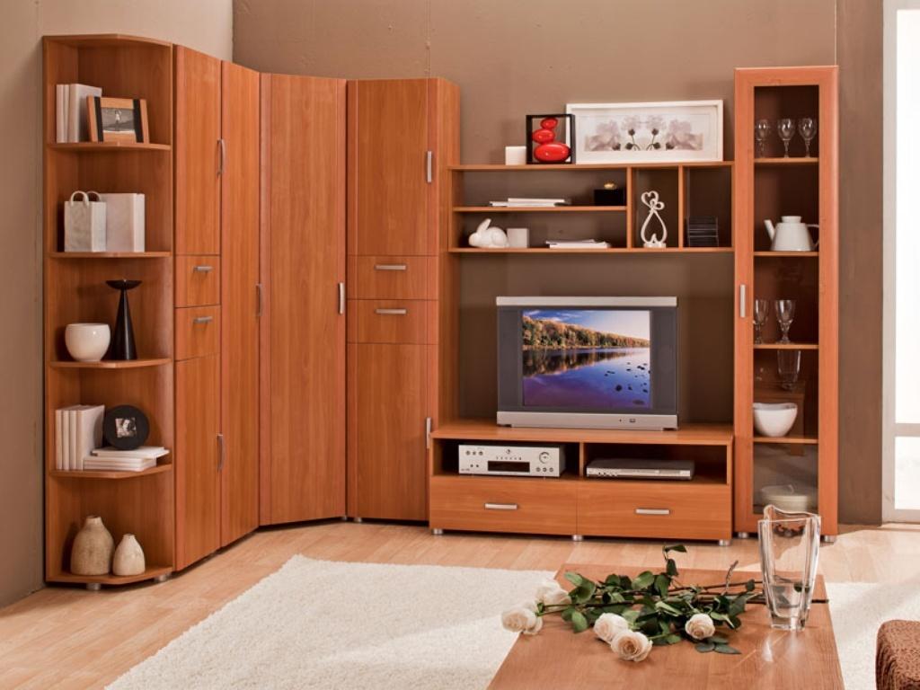 Угловая стенка цвета ореха в гостиную