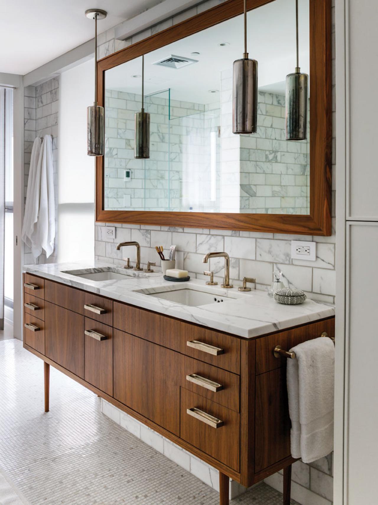Шкаф для ванной под орех