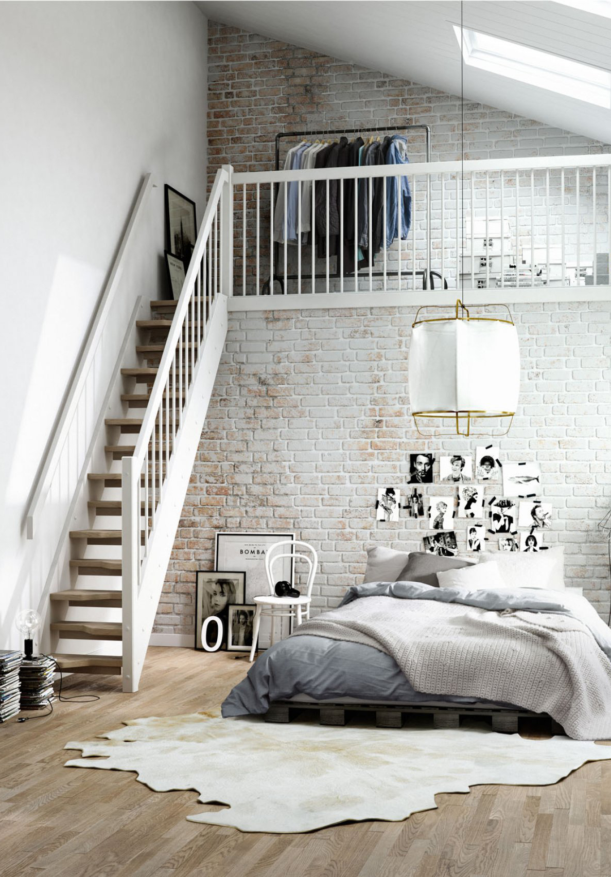 Кровать из паллет в спальне лофт