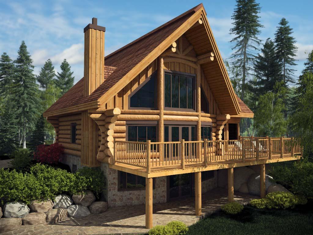 Проект дома из бревна с паркингом