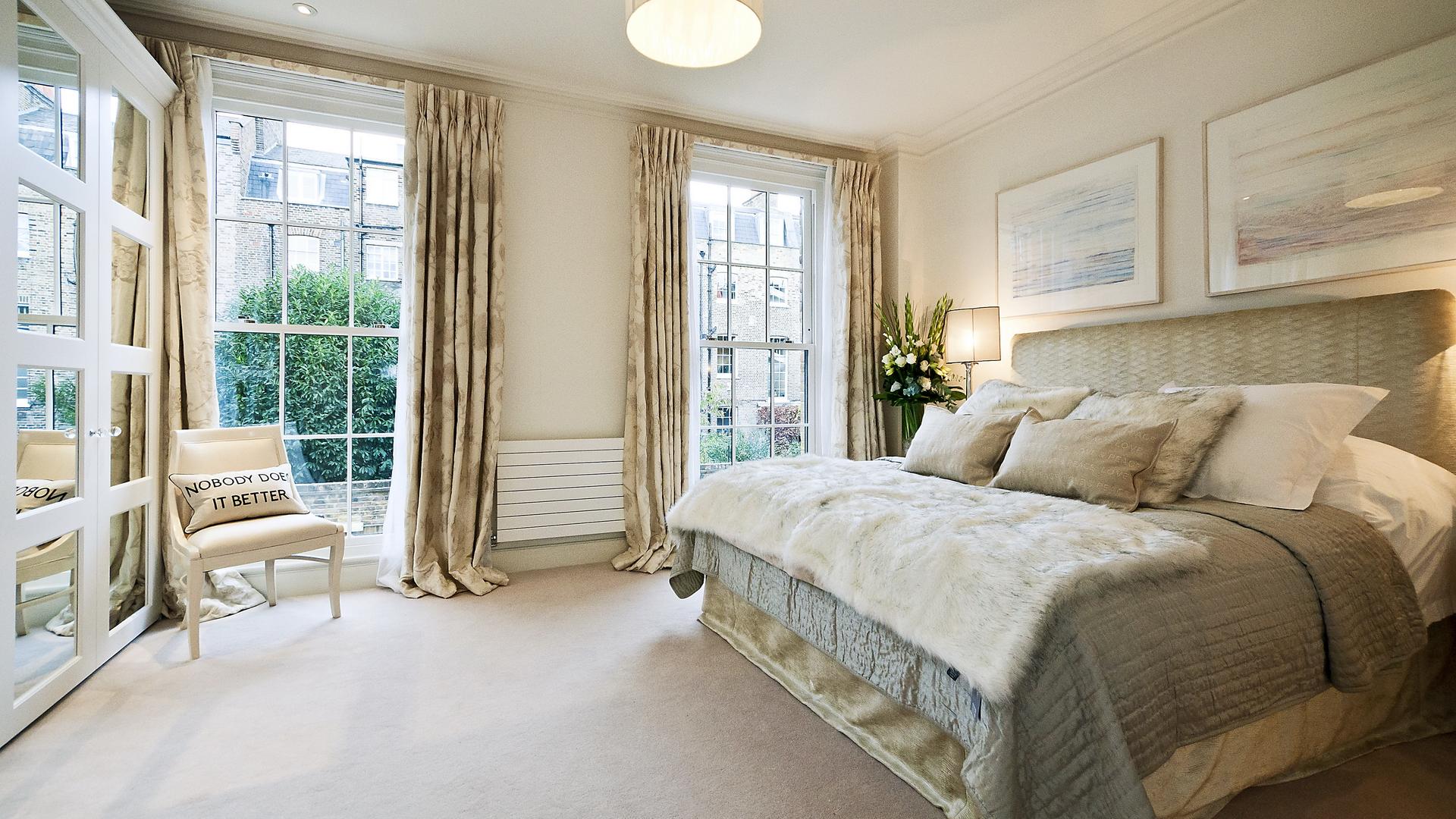 Уютная спальня в пастельных тонах
