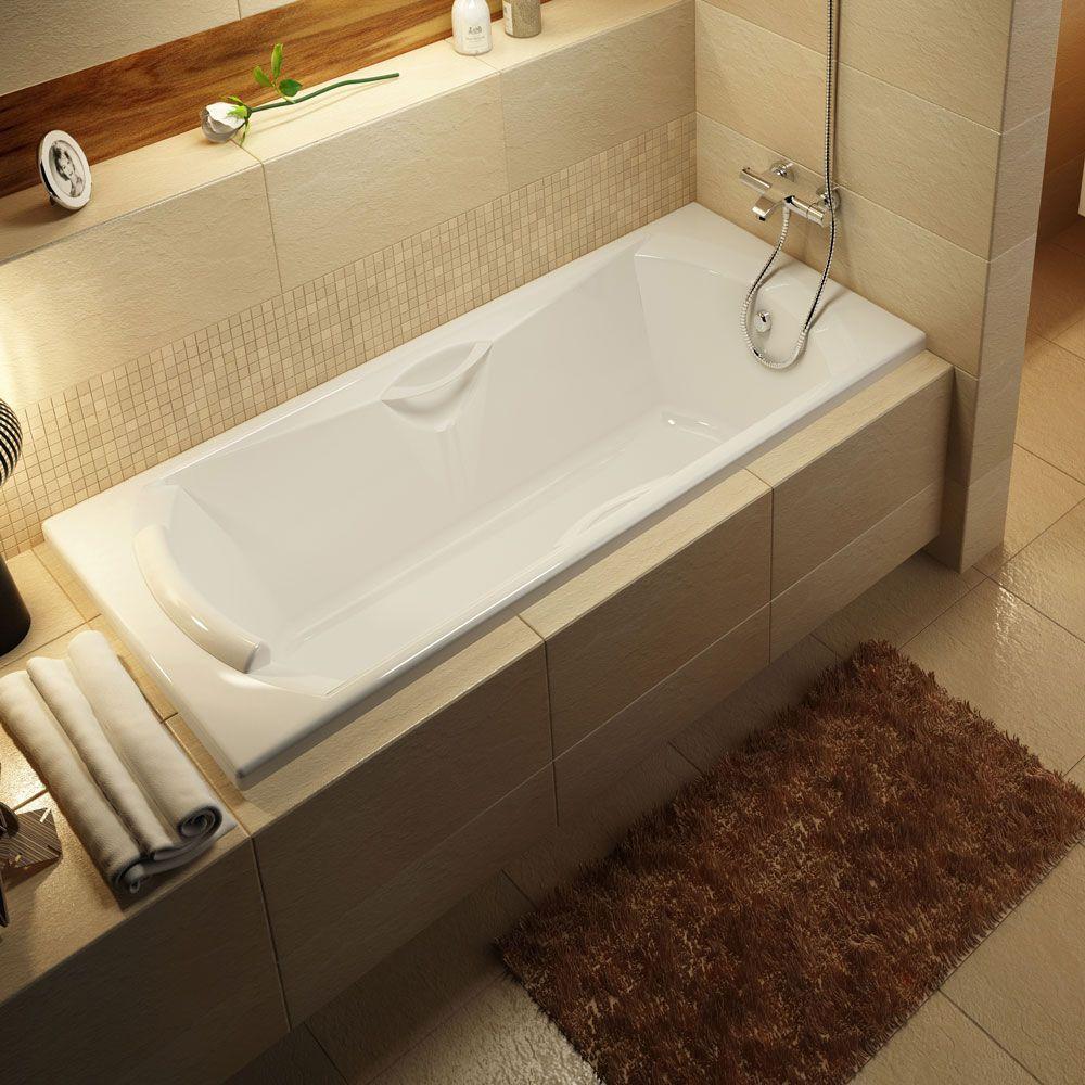 Прямоугольная ванна с подголовником