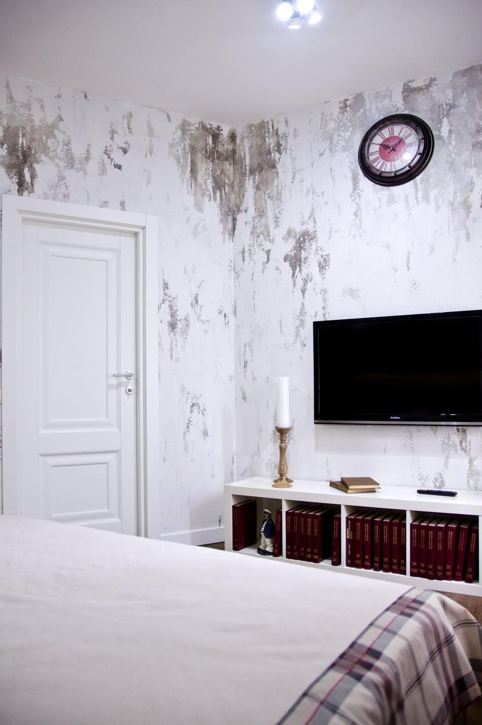 Потертые стены в спальне в стиле лофт