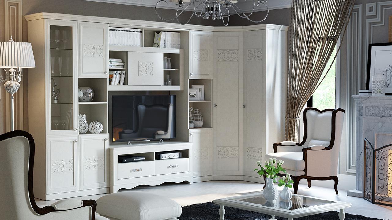 Угловая стенка в стиле прованс в гостиную
