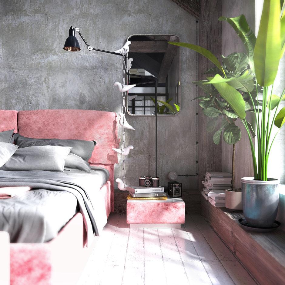 Розовая мебель в стиле лофт для спальни