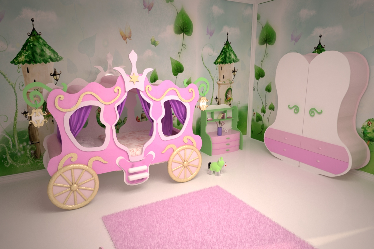 Кровать-карета розового цвета