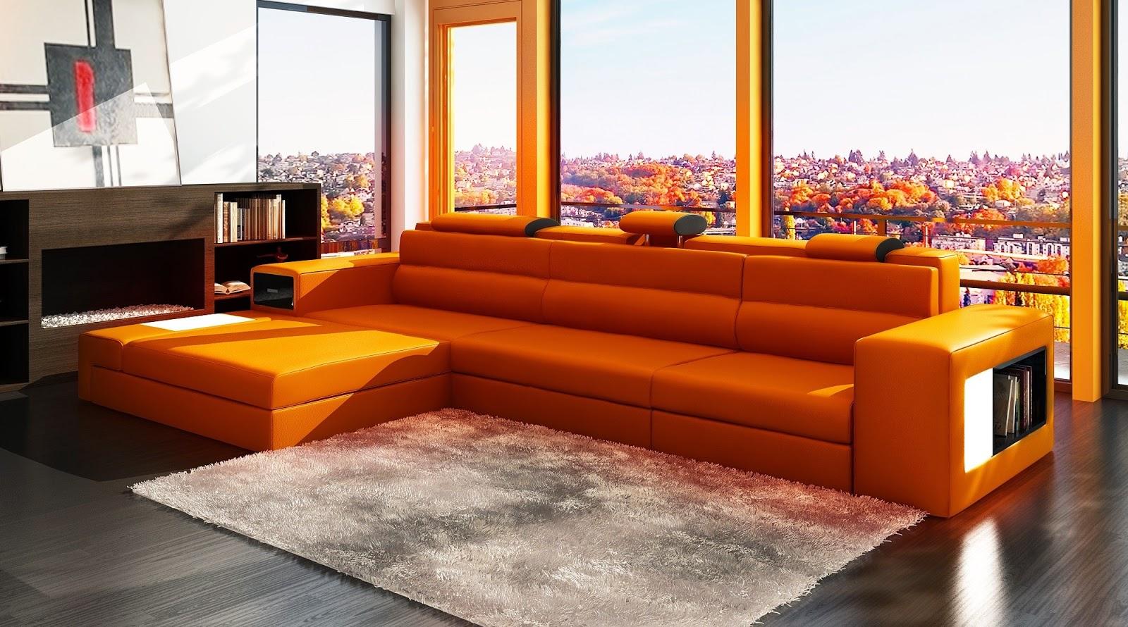 Оранжевый диван с полками