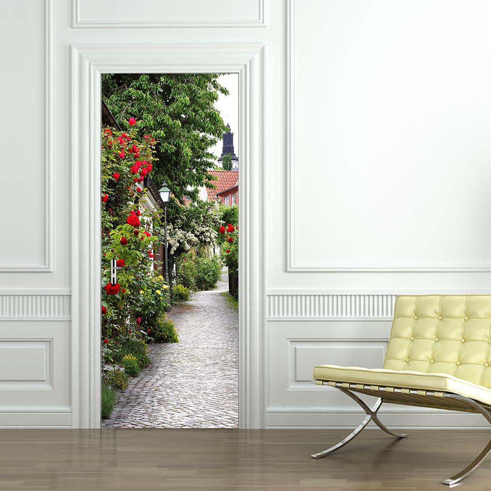 Дверь 3D с изображением сада