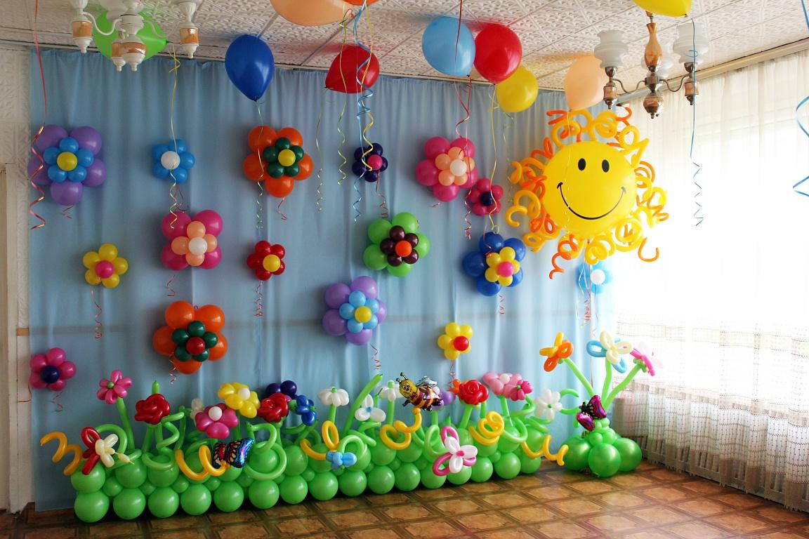 Оформление воздушными шарами праздника в детском саду