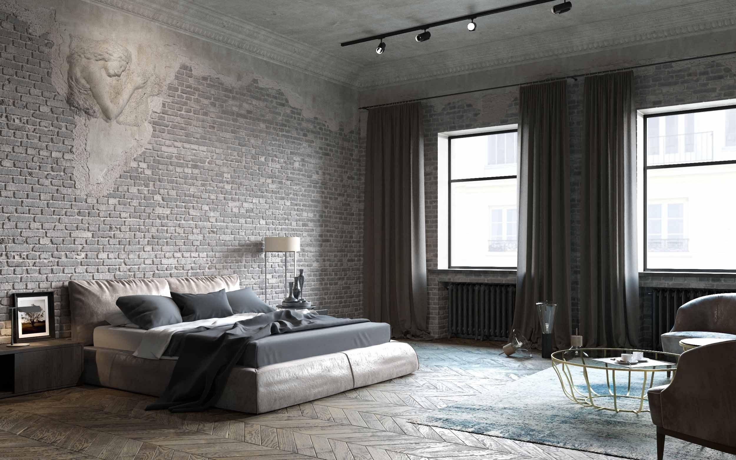 Серая спальня в стиле лофт