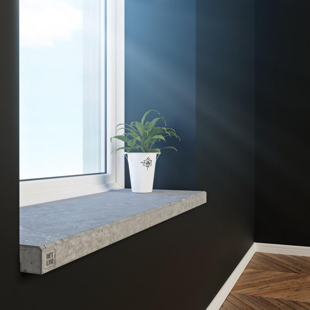 Серый бетонный подоконник