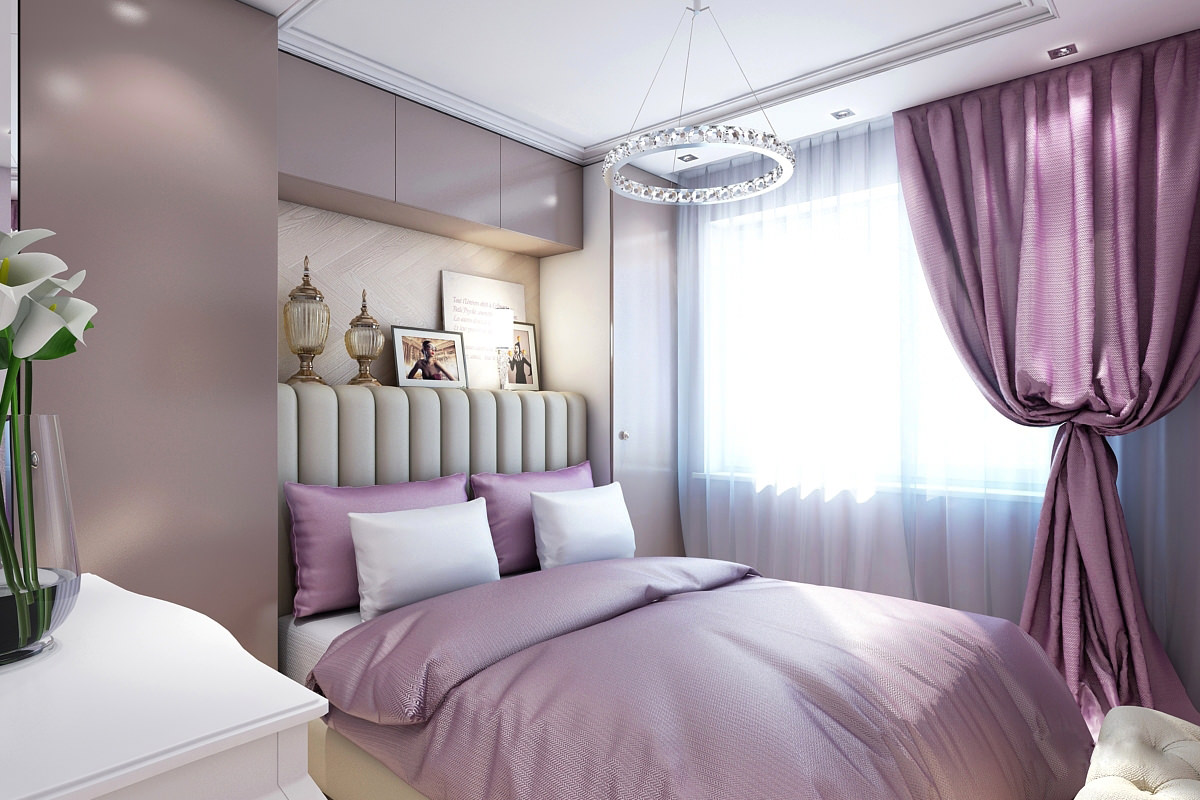 Сиреневые портьеры в спальне