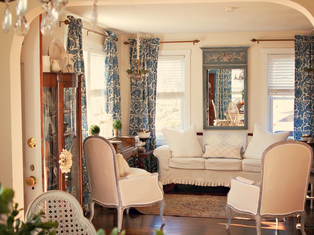 Синие шторы прованс
