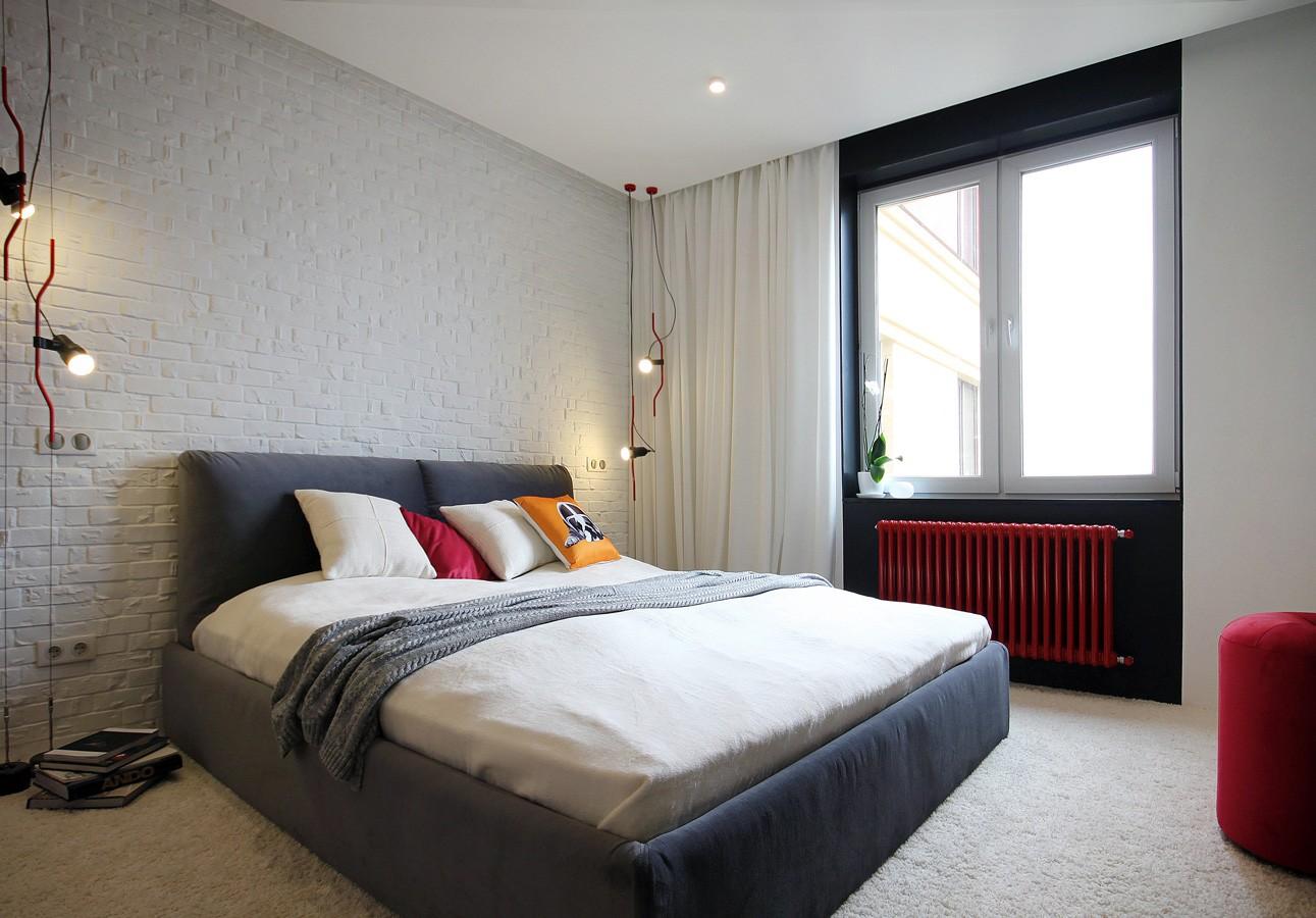 Интерьер лофт в спальне