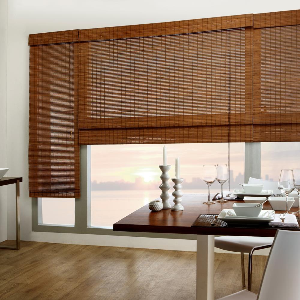 Бамбуковые шторы в столовой