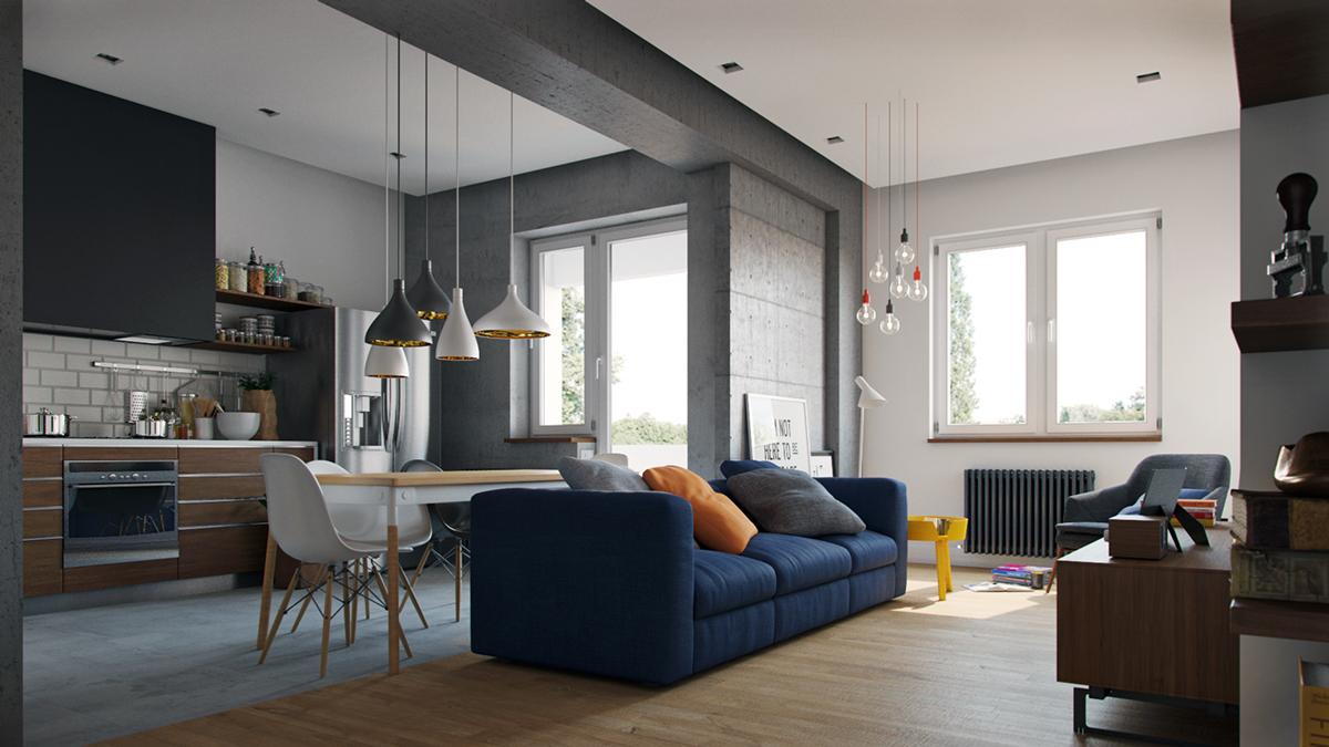 Пружинный диван в интерьере квартиры-студии