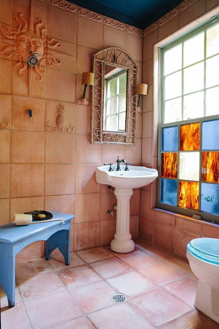 Терракотовая плитка в ванной