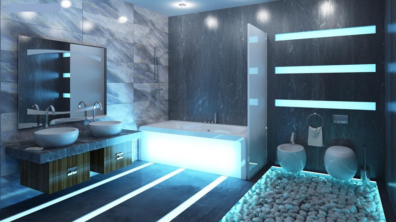 Ванная в стиле техно