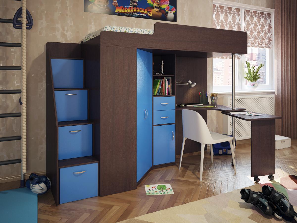 Кровать-чердак венге с синим