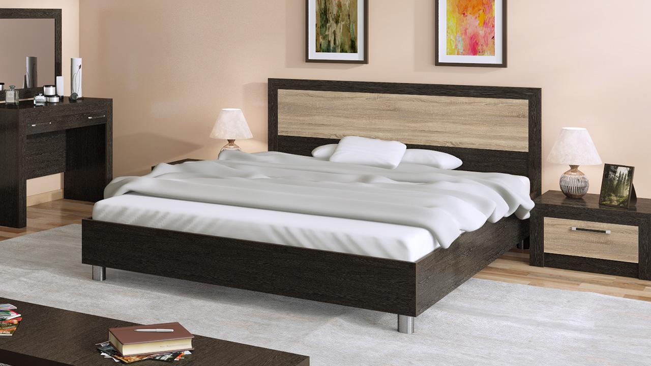Реечная кровать венге