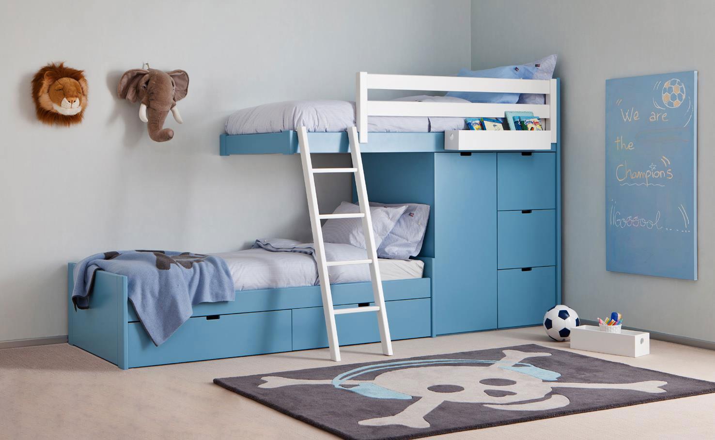 Синяя кровать-чердак с ящиками