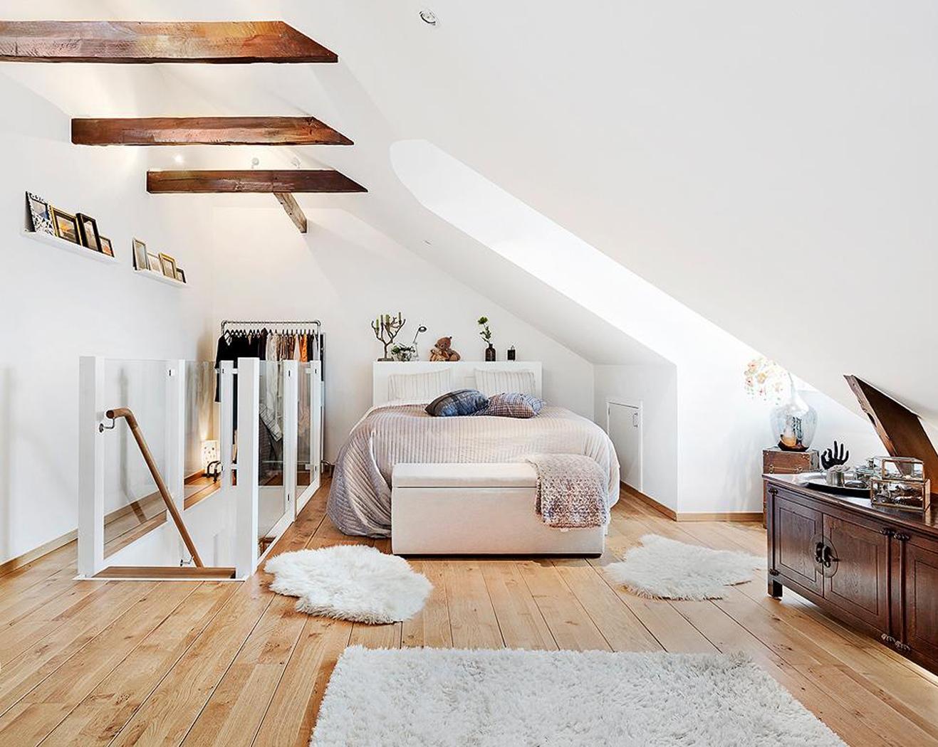 Спальня в скандинавском стиле в загородном доме