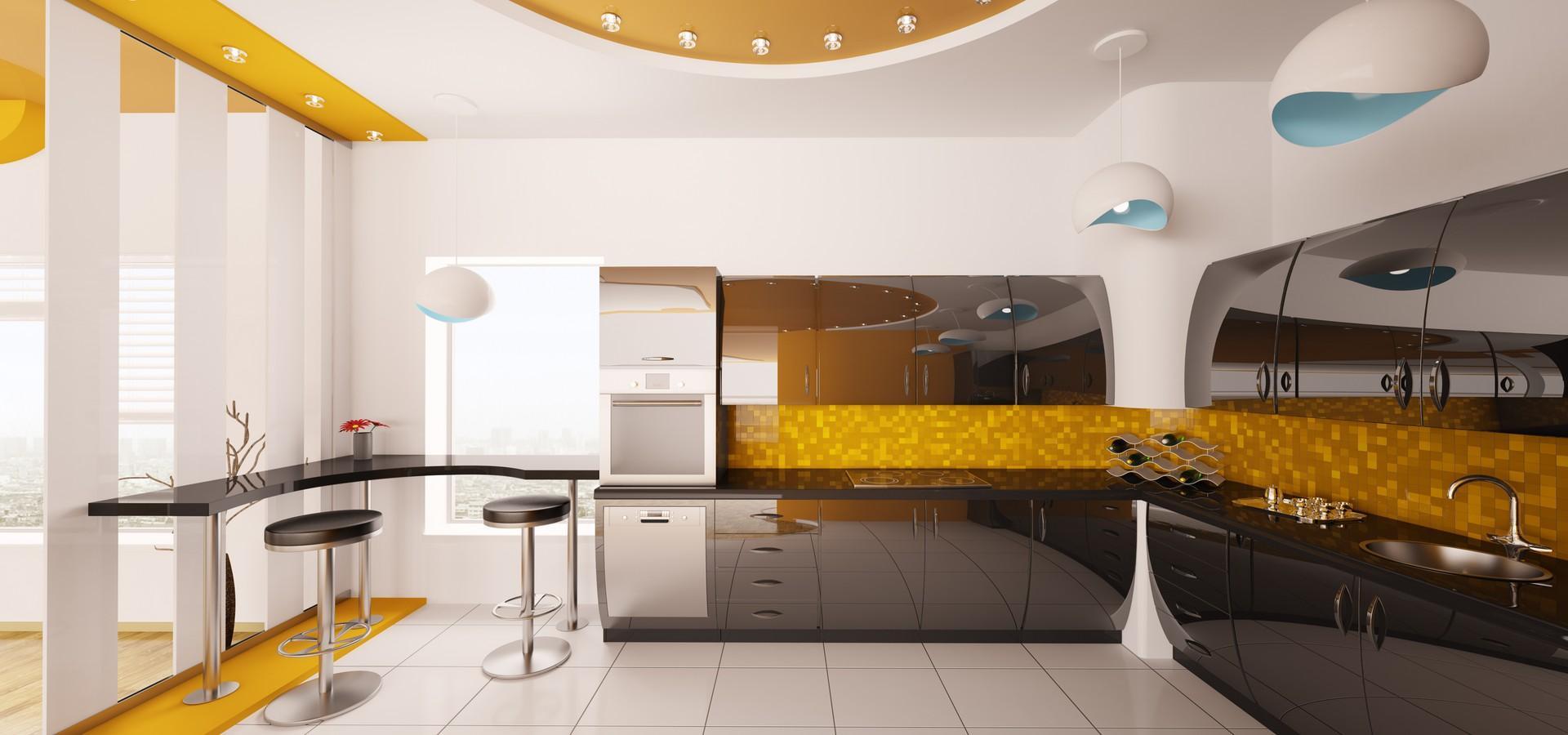 Желтый цвет на кухне в стиле техно