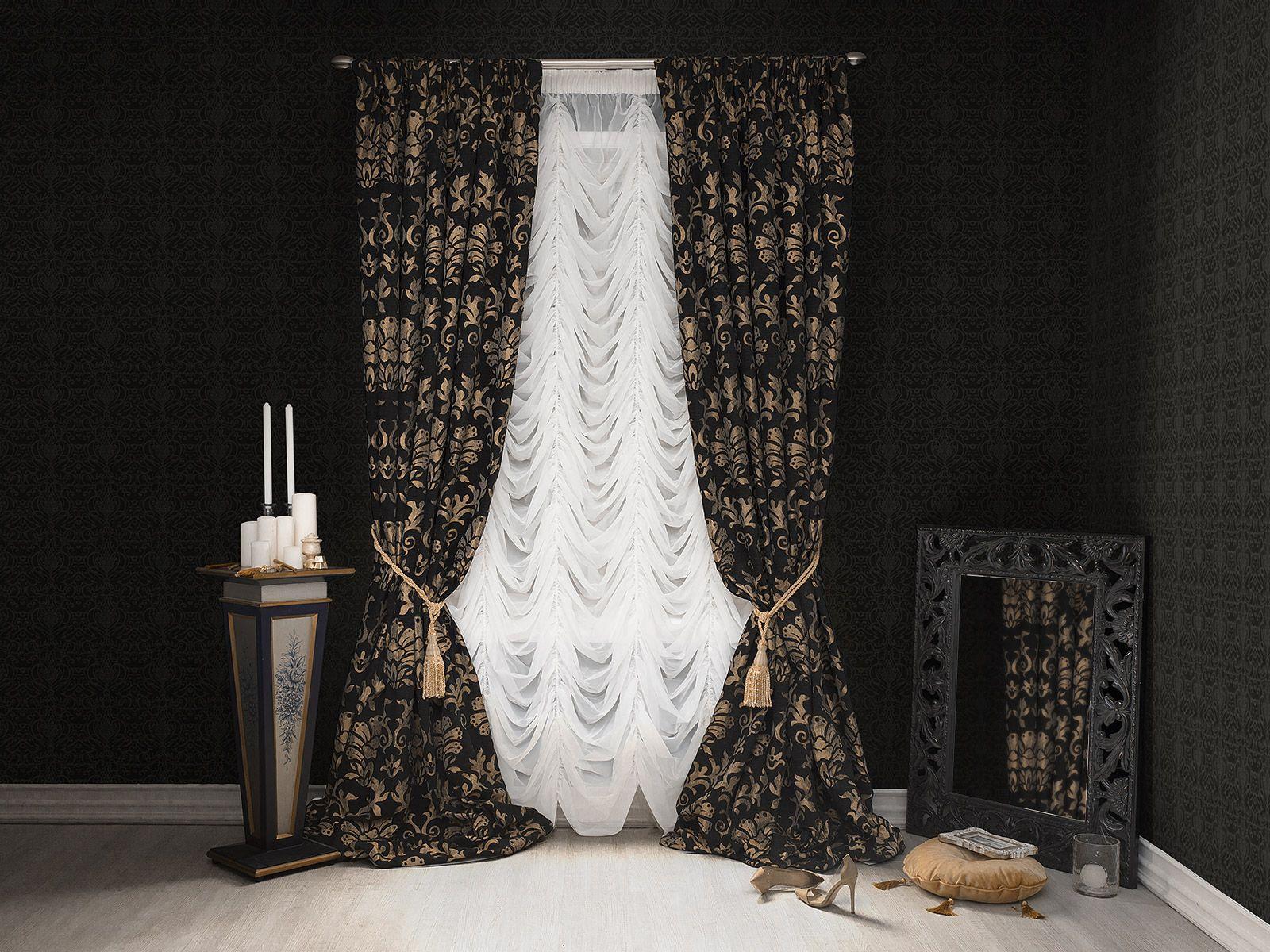 Черные шторы с золотым рисунком