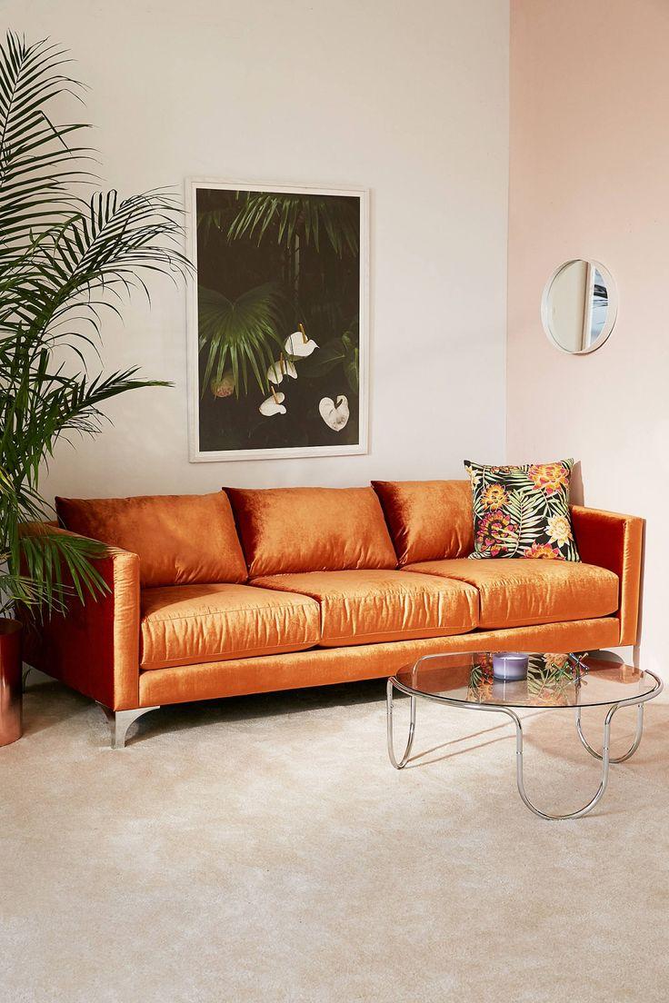 Оранжевый золотистый диван